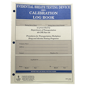 Evidential Breath Testing Device EBT Calibration Log book